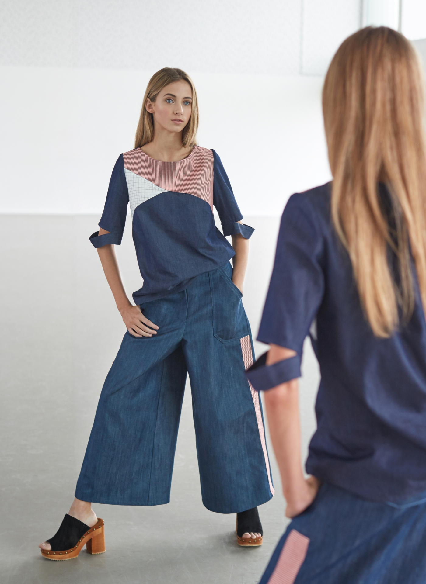 Asymmetric lines | Deconstructed sleeve | Wide leg high waist trousers