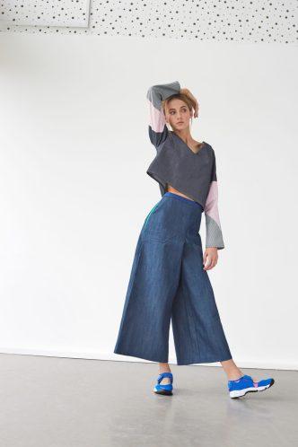 Wide leg trouser and cut up maths grid top