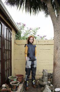Sleeveless denim top   Loose denim trousers