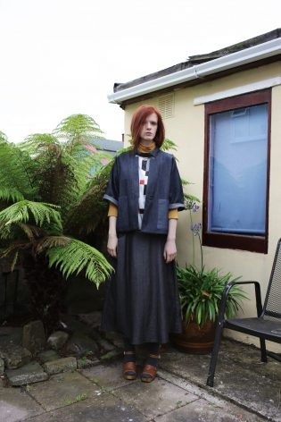 Kimono jacket | Long pleated skirt | Colour block graphic top
