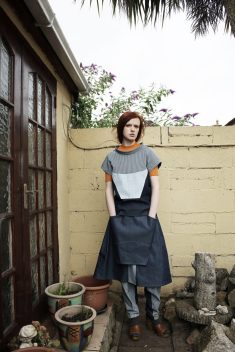 Wide turtle neck grid top | Experimental pleated skirt | Hickory trouser