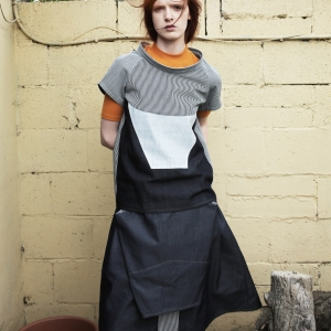 Wide turtle neck grid top | Experimental pleated skirt