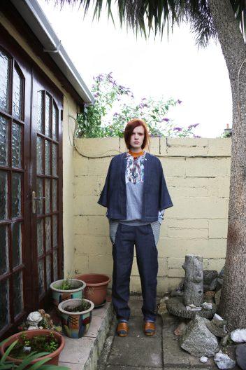 Glitch grid jersey sweater | Kimono jacket | Loose denim trouser