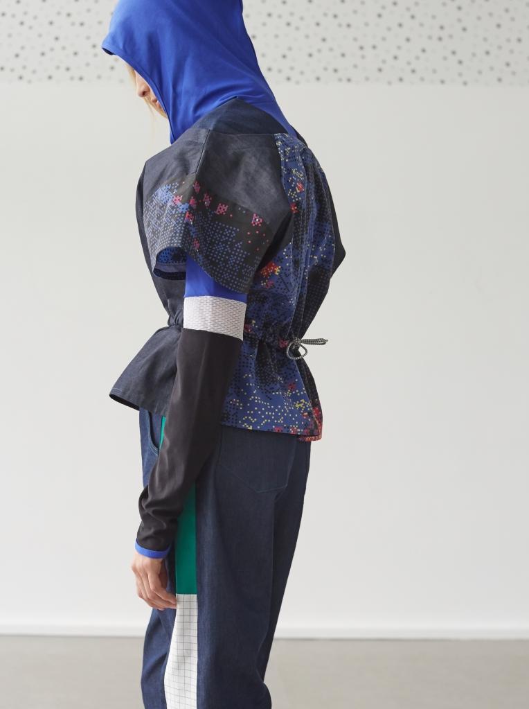 SS17 Denim | Glitch top with denim panelled cuff hem trouser