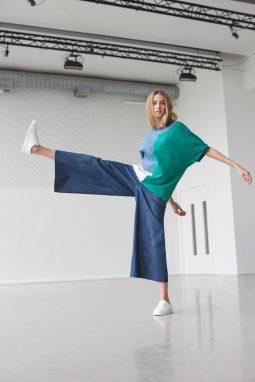 Organic jersey maths top & Wide leg trouser