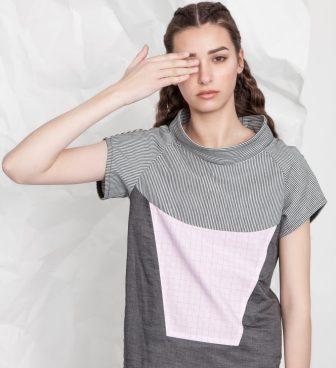 Maths | grid | wide neck denim top