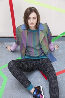 Reflective and denim crop jacket, reflective top and leggings