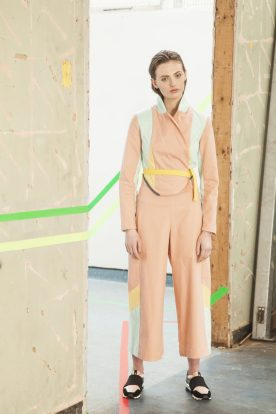 Pink peach panelled jacket and trousers