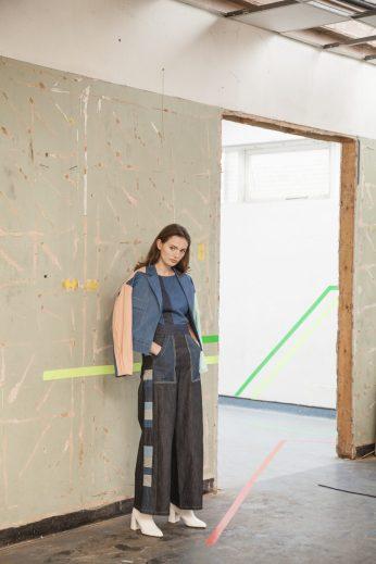 Panelled organic denim trouser, deconstructed graphic top, denim bomber