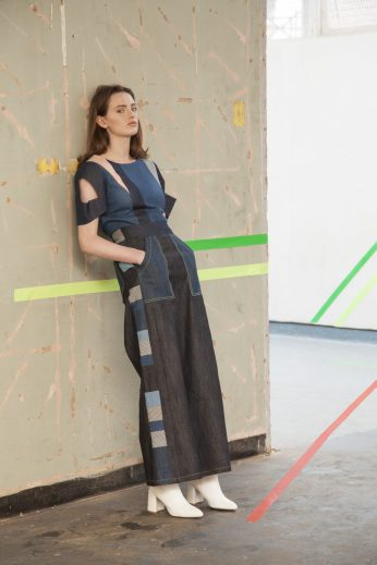 Panelled organic denim trouser, deconstructed graphic top
