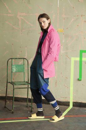 Reflective asymmetric jacket, panelled jogger, denim top