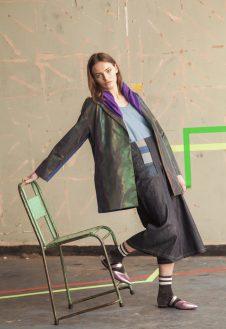 Reflective/ denim coat, denim graphic culottes, deconstructed denim/jersey top